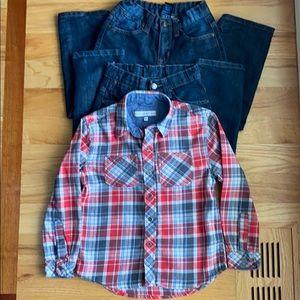 Bundle of Boys Jeans Size 6 & Flannel Shirt Size 7